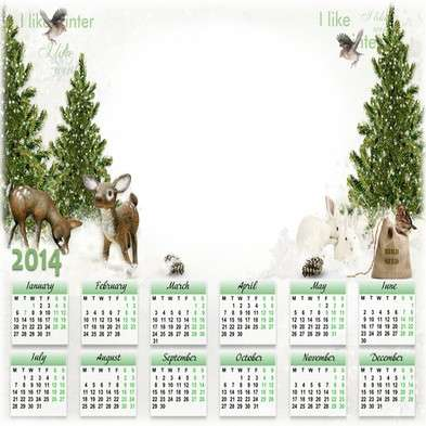 Children calendar-photoframe template psd + png for 2014 - In the winter forest