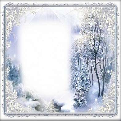 Winter photo frame psd template - Fluffy snow fairy tale winds