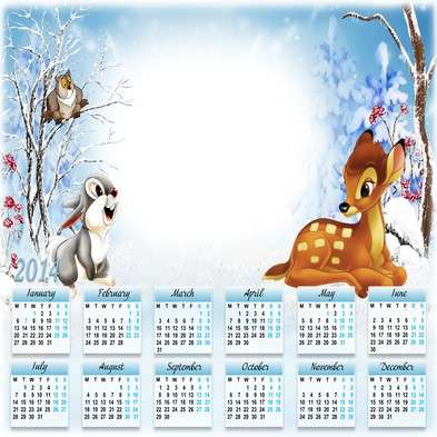 Children calendar-photoframe template psd + png for 2014 - Bambi in the winter forest
