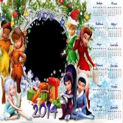 Christmas calendar-frame psd template 2014 - New year's fairies