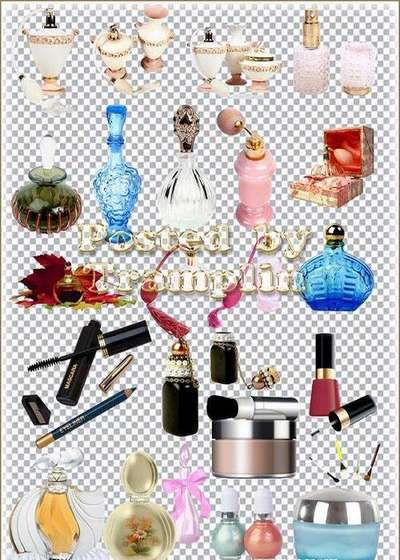 PNG images Cosmetics, perfume, face powder, lipstick, mascara, blush - PNG Clipart on a transparent background