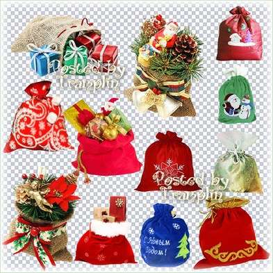 New Year bags with gifts on a transparent background