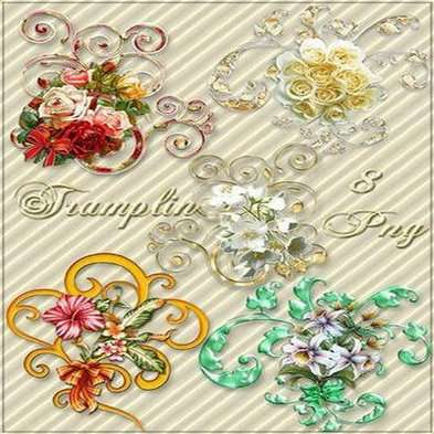 Clipart in Png Curlicues with flowers and bows png images - Free download