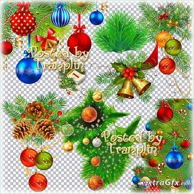 New Year clipart in Png – Coniferous branches, fir-tree spheres and tinsel
