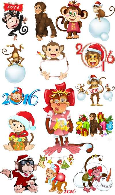 Christmas monkey psd images new year clipart psd on a transparent background - Free download