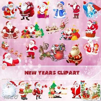 New Year cliparts Santa Claus png images - Free download