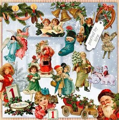 Christmas vintage png images, Christmas clusters png - Free download