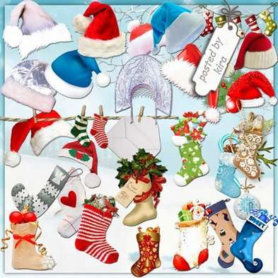 Christmas socks png and hats png images, new year's clipart png - Free download