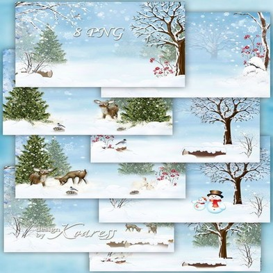 Free Set of winter children png backgrounds for Photoshop download