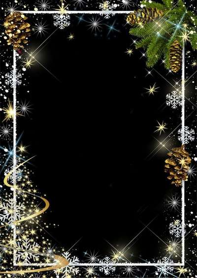 Free Christmas psd frame for photos in Golden Christmas design with snowflakes