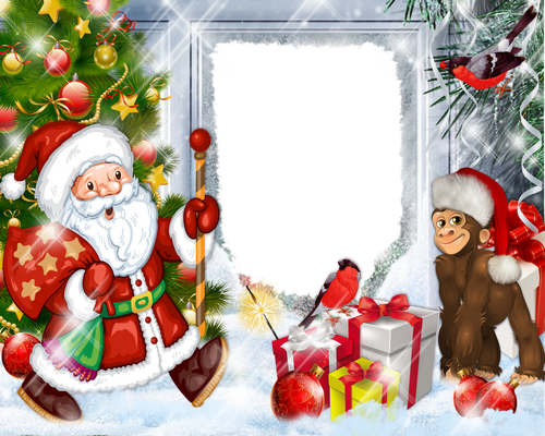 Christmas png frame + psd photo frame for for children's photo- with Santa, Christmas monkey and gifts
