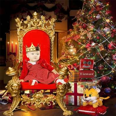 Childrens psd template for photoshop little girl in a Royal chair