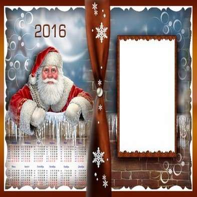 2016 calendar template psd with frame Merry Christmas - Free download