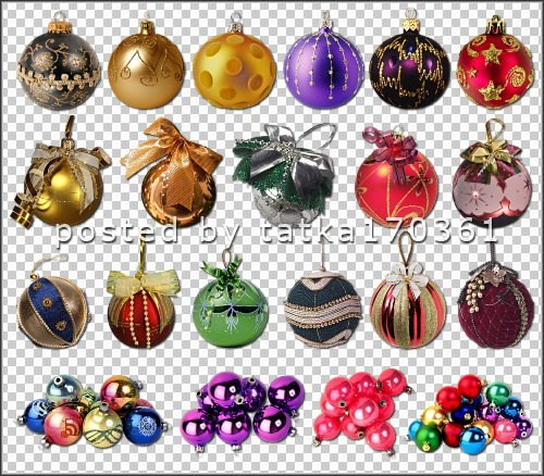 Clipart for Photoshop - Colored balls to decorate the Christmas activities