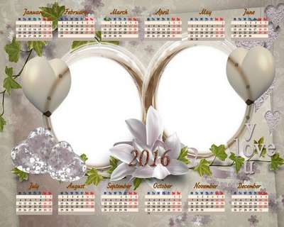 2016 Love calendar psd with frame (can insert 2 photo) for white flowers and hearts - Free download