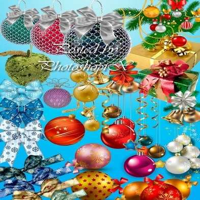 New Year Png clipart Christmas balls png, toys, bells, gifts, bows png images - Free download