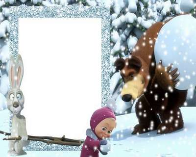 Free Kids winter photo frame psd for Photoshop with Masha and bear (cartoon characters)
