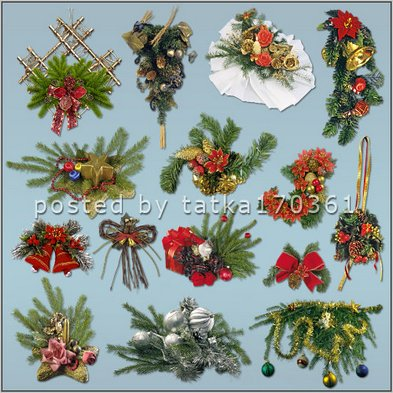 PNG Clipart for Photoshop - Spruce branches in combination with Christmas toys 26 PNG