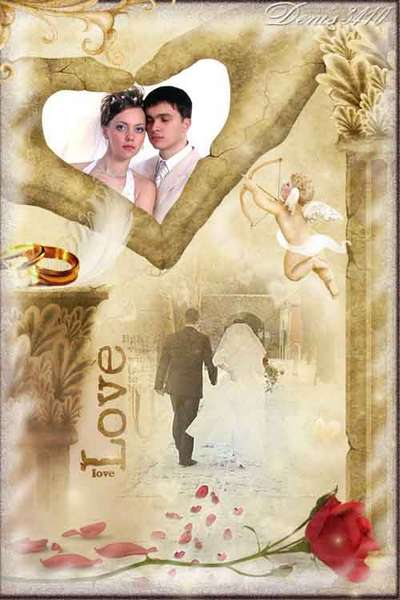 Free Wedding frame png + photo frame psd in vintage style - Love is in our hands