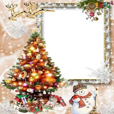 Free Christmas frame png + photo frame psd for Photoshop - Came in snowy winter