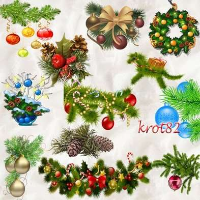 Christmas png images fir-tree branches with Christmas toys png clipart - Free download