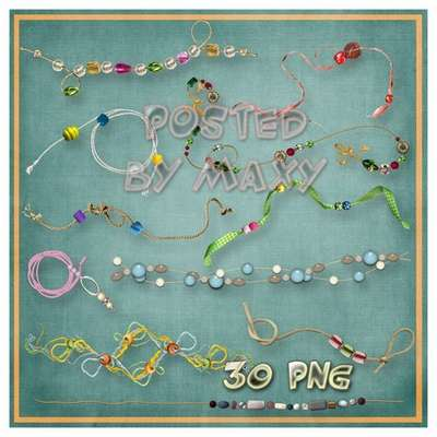 Clipart on transparent background - colorful thread with beads