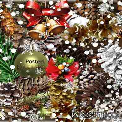 Christmas Clipart in PNG - New Year's cones - Free download