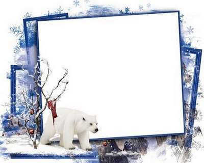 Winter PNG photo frame + psd template - Free download