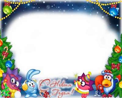 New Years baby photo frame psd with cartoon characters - Free download
