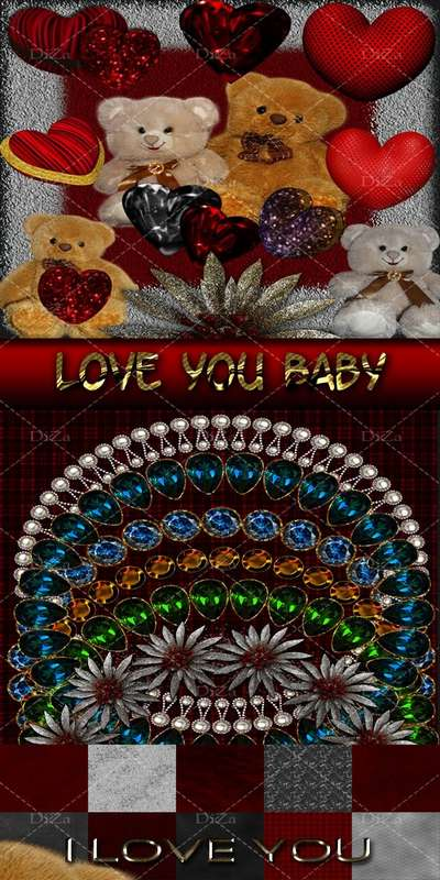 Free Scrap kit - Love You Baby - 10 PNG frames + 10 PNG backgrounds + 10 PNG inscriptions + 20 Jpeg backgrounds + 12 PNG elements