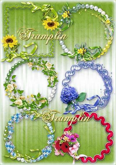 Flower frame Png -cuts for the vignettes with bows, ribbons and stars Png