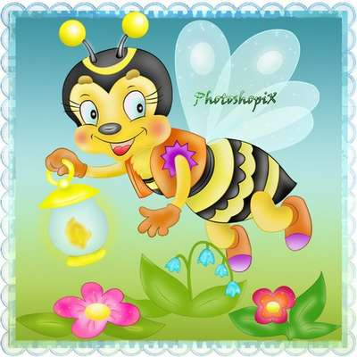 Children's PNG clipart - Bee with a flashlight and flowers