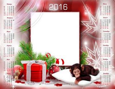 Free 2016 Christmas calendar psd template only Russian language - Free download