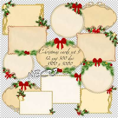 Christmas cards cliparts png download set 3