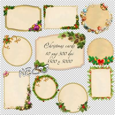 Christmas cards cliparts png download set 2