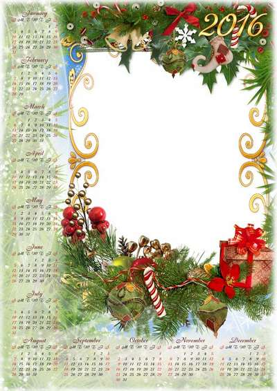 Free set: 2016 Calendar psd with cutout for photo + photo frame psd Christmas design - Happy New Year and Merry Christmas!