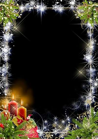 Free Christmas psd frame for Photoshop in Christmas design with candles