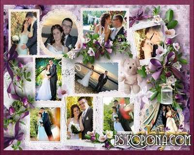 Collage of wedding photos in shades of lilac
