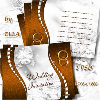 Layered PSD source - Wedding invitation 8