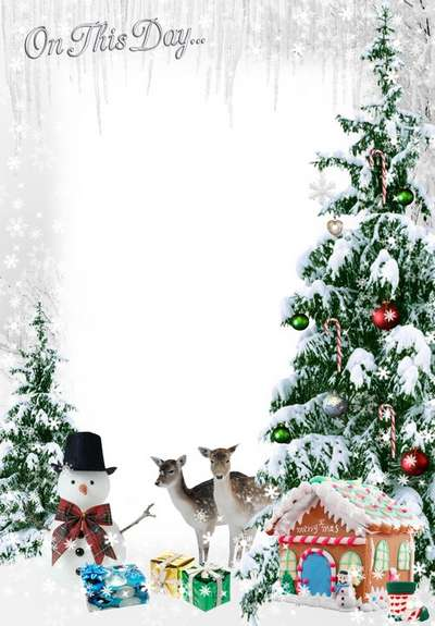 Free Children winter photo frame png + psd in the winter forest with Christmas trees