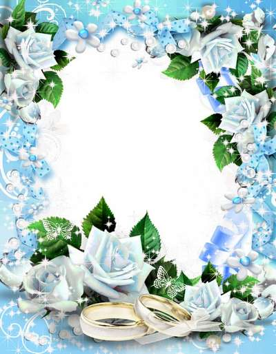 Wedding Photo Frame with blue roses - With love, tenderness, great life you have to go!