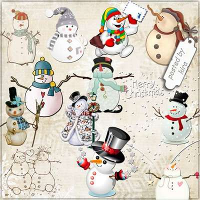 Snowmen in png - winter Clipart 136 PNG