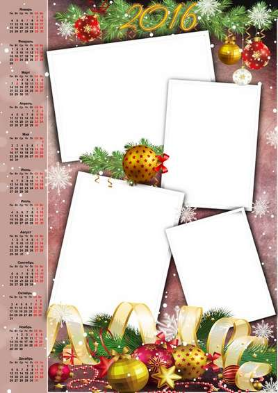 2016 Christmas desktop calendar psd template with Christmas Golden balls - only Russian language
