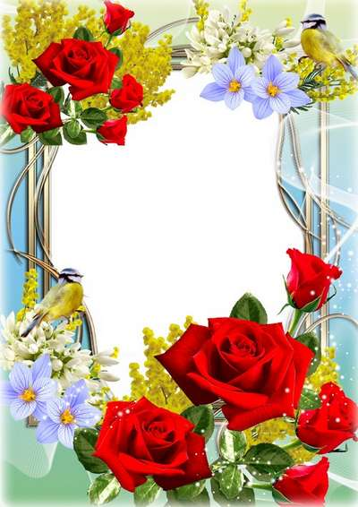 Bright floral frame for photo - Spring Beauty