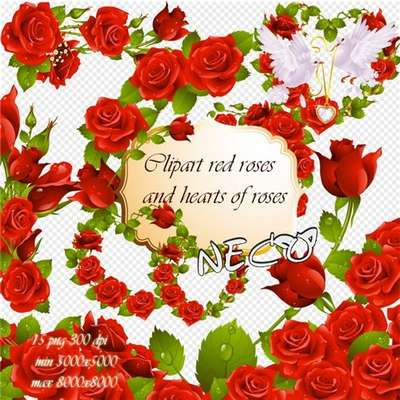 Clipart red roses and hearts of roses PNG