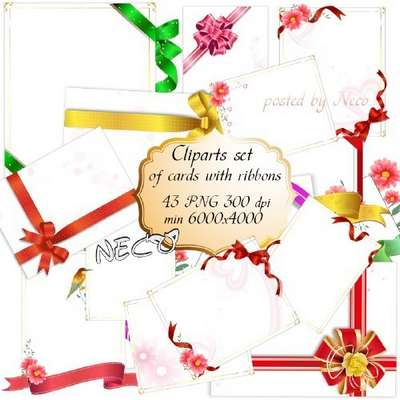 Cliparts set of cards with ribbons for decoration