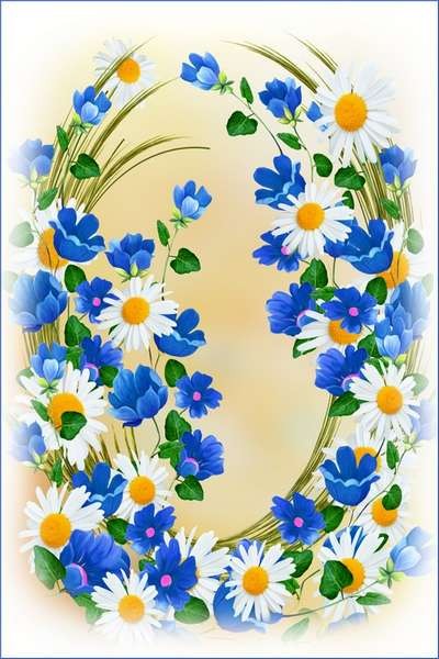 Frame for women photos - Daisies and bluebells (free frame psd)