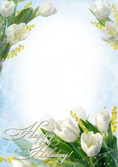 Greeting photoframe with white tulips - Womens Day
