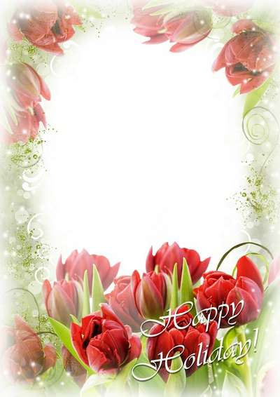Greeting frame for Photoshop Women's Day - Light fragrance of spring