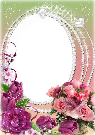 Festive floral feminine frame for photo - Happy ladies